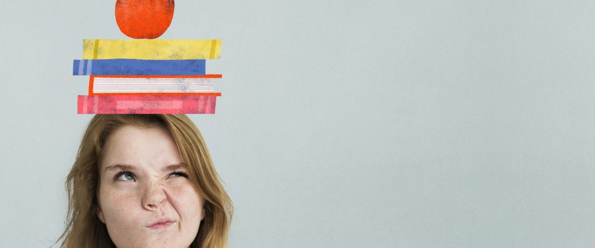 Woman psd with book stack on her head